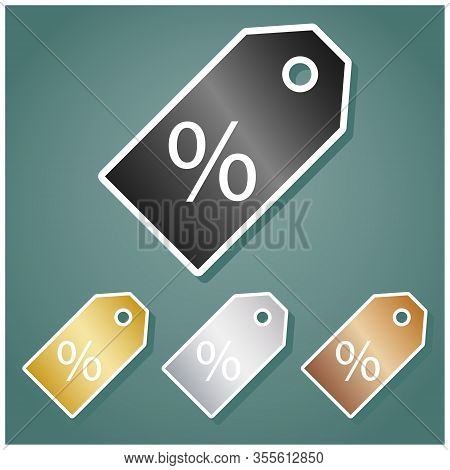 Promotion Sign. Set Of Metallic Icons With Gray, Gold, Silver And Bronze Gradient With White Contour