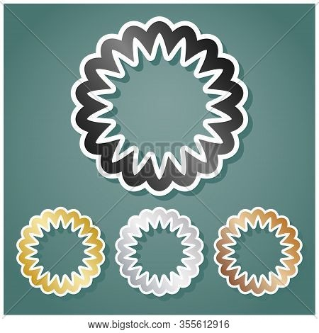 Mandala Geometry Sign. Set Of Metallic Icons With Gray, Gold, Silver And Bronze Gradient With White