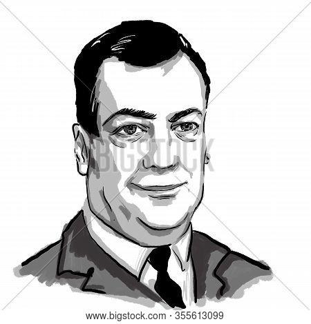 Kaliningrad, Russia, 25.01.2020. Sketch Illustration Of Dmitry Medvedev, Prime Minister Of Russia .