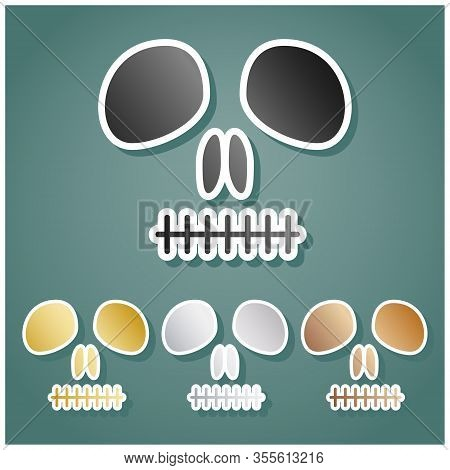 Death Skull Sign. Set Of Metallic Icons With Gray, Gold, Silver And Bronze Gradient With White Conto