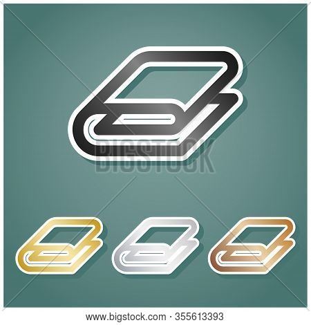 Bathroom Towel Sign. Set Of Metallic Icons With Gray, Gold, Silver And Bronze Gradient With White Co