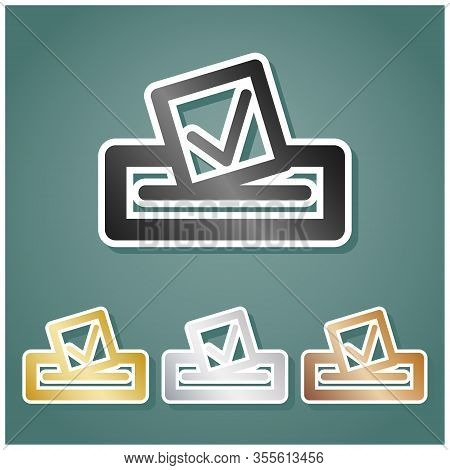 Paper In A Box Icon. Set Of Metallic Icons With Gray, Gold, Silver And Bronze Gradient With White Co