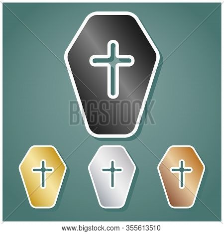 Wooden Coffin Sign. Set Of Metallic Icons With Gray, Gold, Silver And Bronze Gradient With White Con