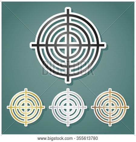Target Aiming Sign. Set Of Metallic Icons With Gray, Gold, Silver And Bronze Gradient With White Con