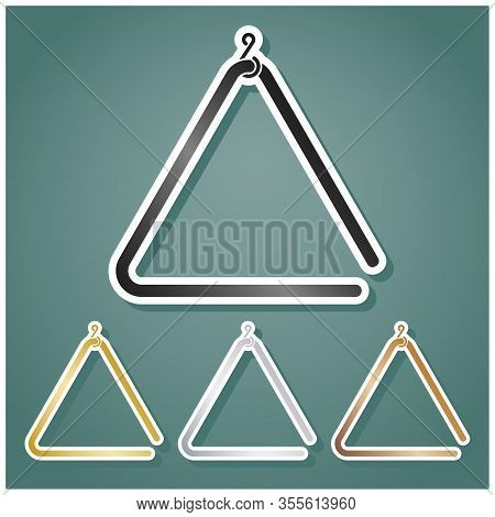Triangle Line Sign. Set Of Metallic Icons With Gray, Gold, Silver And Bronze Gradient With White Con