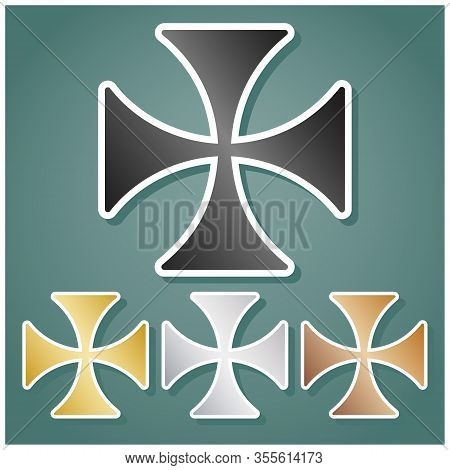Maltese Cross Sign. Set Of Metallic Icons With Gray, Gold, Silver And Bronze Gradient With White Con