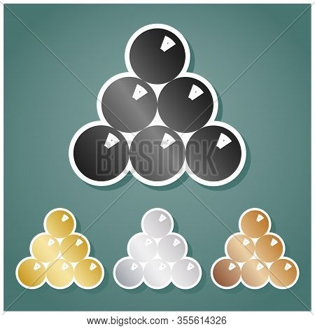 The Billiard Sign. Set Of Metallic Icons With Gray, Gold, Silver And Bronze Gradient With White Cont