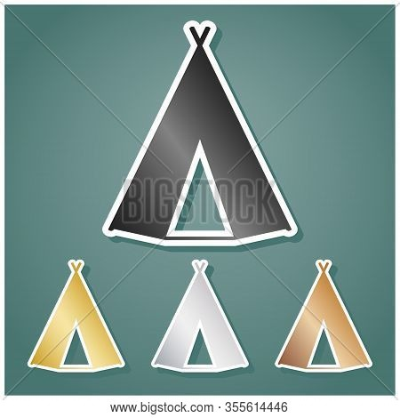 Wigwam Sign. Set Of Metallic Icons With Gray, Gold, Silver And Bronze Gradient With White Contour An