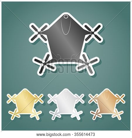 Drone Quadrocopter Sign. Set Of Metallic Icons With Gray, Gold, Silver And Bronze Gradient With Whit