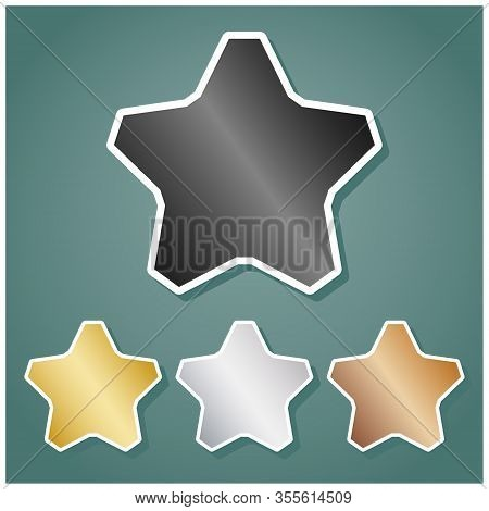 Star Sign. Set Of Metallic Icons With Gray, Gold, Silver And Bronze Gradient With White Contour And