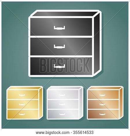Nightstand Sign. Set Of Metallic Icons With Gray, Gold, Silver And Bronze Gradient With White Contou