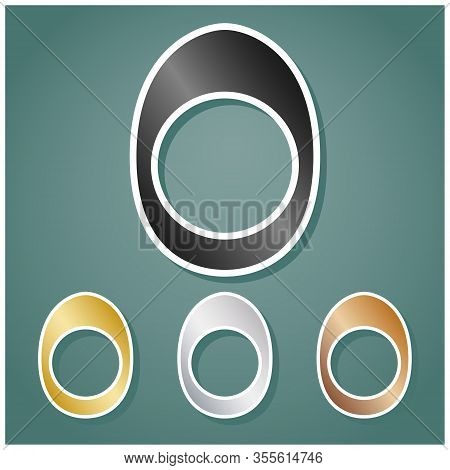 Egg With Yolk. Set Of Metallic Icons With Gray, Gold, Silver And Bronze Gradient With White Contour