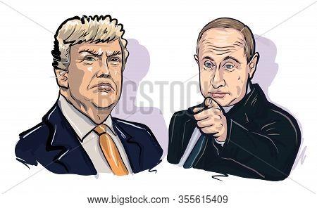 Kaliningrad, Russia, February 01 2020 . Donald Trump And Vladimir Putin. Portrait Sketch Illustratio