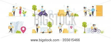 Express Delivery Service Set With People Characters In Various Scenes. Fast Couriers Delivery At Hom