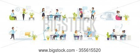 Call Center With People Characters In Various Scenes. Consultant In Phone Headset Works In Office. B
