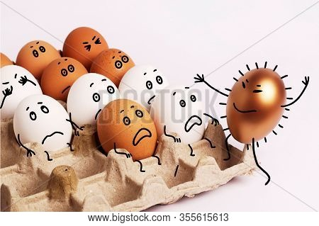 Eggs In A Box With Faces Painted On Them. Easter. Eggs With Funny Faces Are Afraid Of The Coronaviru
