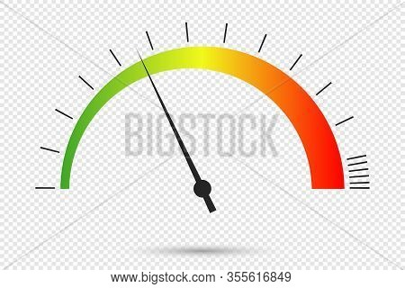 Speedometer Icon At Transparent Background. Color Infographics Of Car Speedometer. Symbol Of Speed D