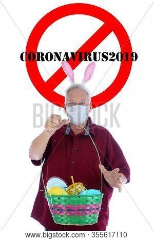 2019 Novel Coronavirus. 2019-nCoV. Wuhan, China 2019 Novel Coronavirus. Easter Bunny is Scared of contracting the dreaded COVID19.  World Wide Pandemic. World Wide Coronavirus Pandemic.