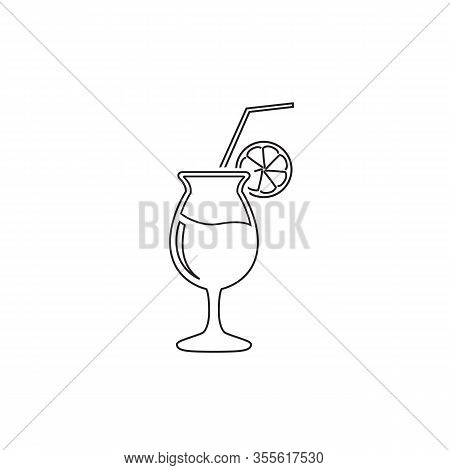 Cocktail Glass With Straw And Lemon Vector Line Icon. Filled Flat Sign For Mobile Concept And Web De