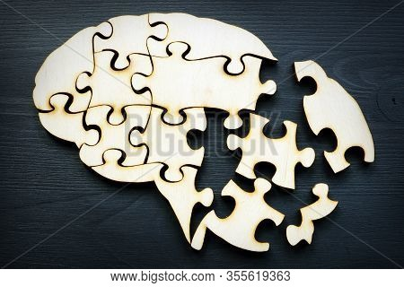 A Brain Shape From Puzzles As A Symbol Of Mental Health And Memory Problems And Alzheimer Disease.