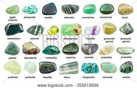 Collection Of Various Green Gemstones With Names (chlorite, Malachite, Prehnite, Chrysoprase, Skarn,