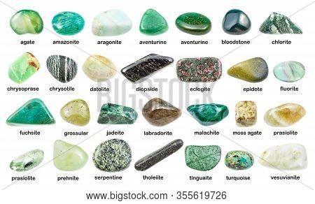 Set Of Various Green Gemstones With Names (chrysotile, Chlorite, Malachite, Prehnite, Chrysoprase, G