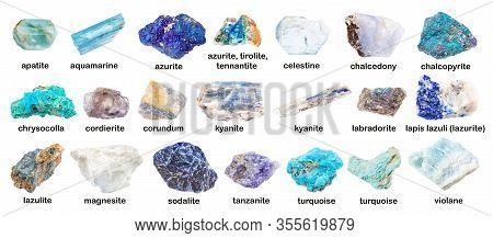 Set Of Various Blue Unpolished Stones With Names (corundum, Chrysocolla, Iolite, Apatite, Turquoise,