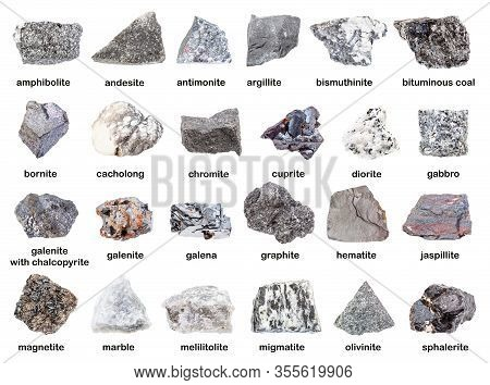 Set Of Various Gray Unpolished Rocks With Names (antimonite, Chromite, Graphite, Melilitolite, Borni