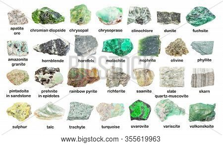 Set Of Various Green Unpolished Stones With Names (variscite, Turquoise, Saamite, Richterite, Pintad