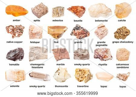 Set Of Various Unpolished Rocks With Names (calcite, Asbestos, Aplite, Rhyolite, Pegmatite, Granite,