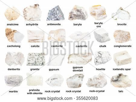 Set Of Various Unpolished White Minerals With Names (prehnite, Danburite, Analcime, Analcite, Brucit