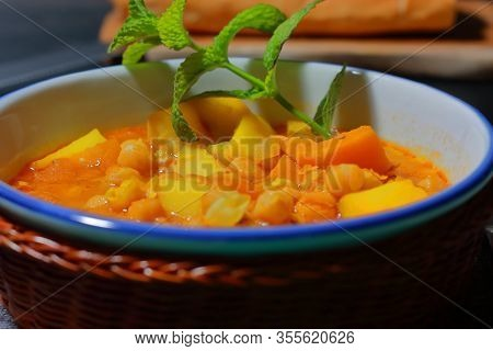 Chickpea Stew (gypsy Pot), With Vegetables, Legumes, Spices, Potatoes And Pears, Is A Typical Dish O