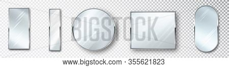 Mirrors Set Of Different Shapes Isolated. Realistic Mirror Frame, White Mirrors Template. Realistic