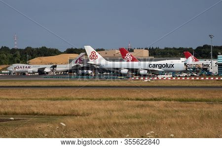 Findel - Luxembourg / July 8, 2018: Luxembourg Findel Airport Cargo Apron