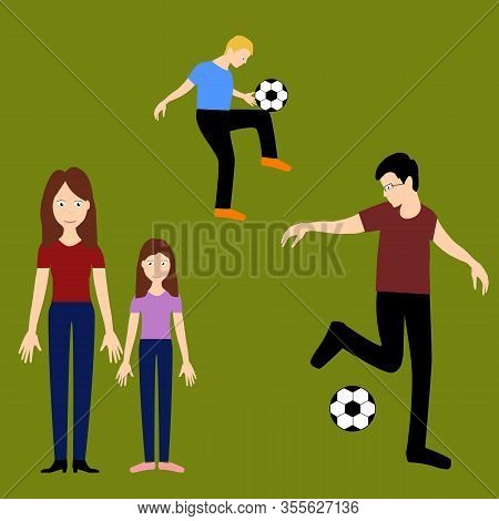 Vector Art, Plaing Football Family, Father And Son, Mother And Daughter, On The Green Grass