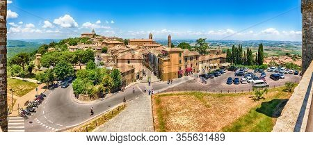 Montalcino, Italy - June 23: Scenic Aerial Panoramic View Over The Town Of Montalcino, Province Of S