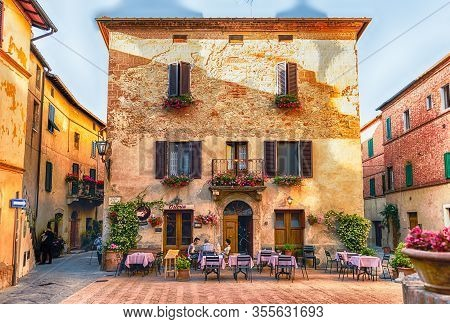 Pienza, Italy - June 23: View Of The Picturesque Piazza Di Spagna, In Pienza, Tuscany, Italy On June