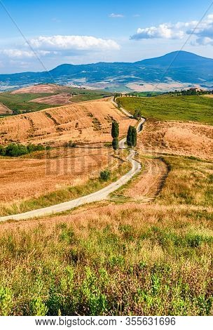 Pienza, Italy - June 23: Iconic Landscape With Gladiator Road And Cypresses In Pienza, Tuscany, Ital