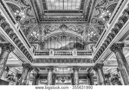 Monte Carlo, Monaco - August 13: Interiors Of The Monte Carlo Casino, Famous Gambling And Entertainm