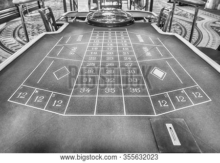 Monte Carlo, Monaco - August 13: Classic Roulette Table Of The Monte Carlo Casino, Famous Gambling A