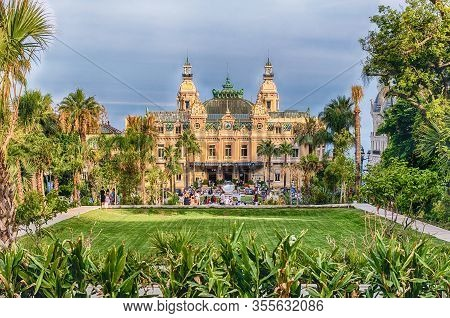 Monte Carlo, Monaco - August 13: Facade Of The Monte Carlo Casino, Famous Gambling And Entertainment