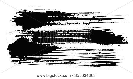 Abstract Expressive Horizontal Textured Black Ink Or Watercolor Lined Stain With Little Dots And Dro