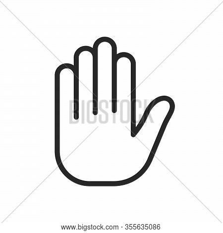 Stop Hand Icon Isolated On White Background. Linear Hand Icon In Flat Design. Vector Illustration.