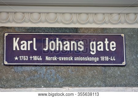Karl Johans Gate Street Sign In Oslo