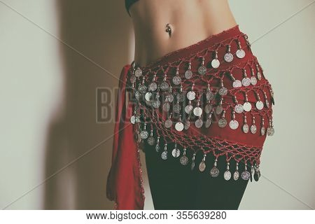 Image Of Close Up Stomach Of Belly Dancer.