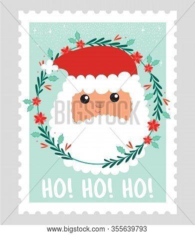 Santa Claus Postage Stamp. Postage Stamps To Send Letter To Santa