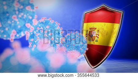 Fight Of The Spain With Coronavirus - 3d Render