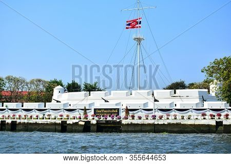 Bangkok, Th - Dec. 12: Wichai Prasit Fort Facade On December 12, 2016 In Chao Phraya River, Bangkok,