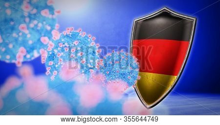 Fight Of The Germany With Coronavirus - 3d Render