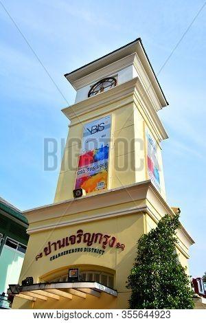 Bangkok, Th - Dec 12: Asiatique The Riverfront Clock Tower On December 12, 2016 In Bangkok, Thailand
